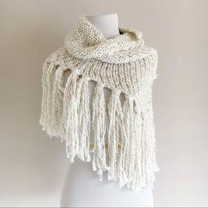 World Market Cream Knit Fringe Infinity Scarf